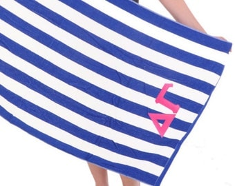 Delta Gamma Towel Stripes . Pink Greek Letters