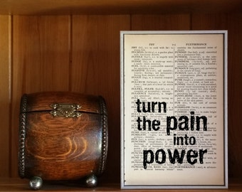 """Motivational Quote. """"Turn the Pain into Power"""" Vintage Dictionary Book Page Print. Superhero Quote"""