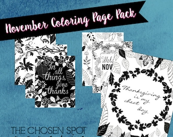 Coloring Pages, November pack, Thanksgiving, printable, adult coloring, leaf design coloring pages