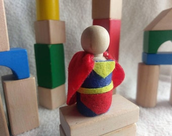 Super hero peg doll with felt clothing. Montessori and Waldorf inspired. Wooden Action figurine.