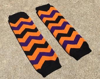Halloween leg warmers, baby girl leg warmers, chevron, leggings, leg warmers, orange leg warmers, halloween baby, baby girl, toddler girl