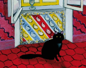 Nice interior with black cat