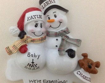 Personalized Christmas Ornament Pregnant Snowman Couple with Dog ,Expecting Parents Mom to be, Dad to be, Pregnancy announcement
