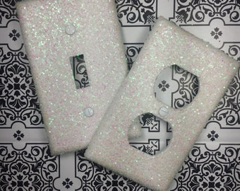sparkly white pearl iridescent opal glitter bling light switch plates rockers u0026 outlet covers
