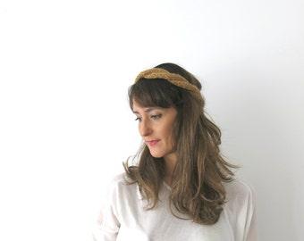 Handknit braid hairband, headband & necklace, womens hair accessory, braid boho band, handknitted hairband, gift under 15 teen ready to ship