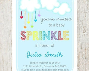Rainbow Baby Sprinkle, Shower Invitation