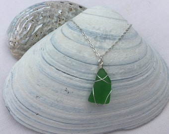 Green Beach Glass Necklace - Single Pendant