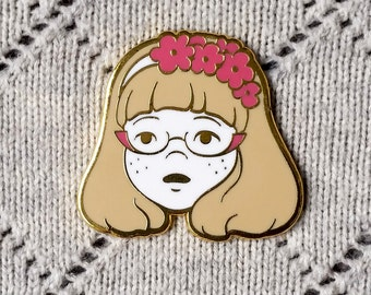 SECONDS - Beatrice Pin - Flower Crown Glasses Girl Hard Enamel Pin - White, Pink and Gold - Lapel Pin