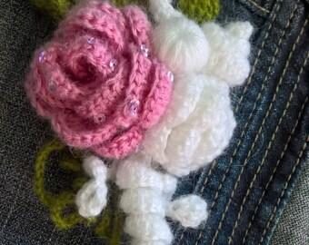 Brooch Free formCrochet handmade