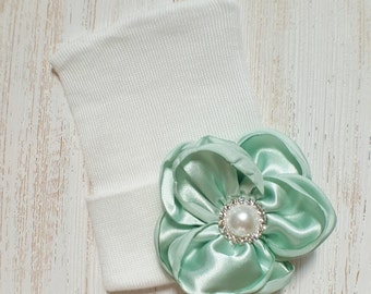Baby girl newborn hat with Mint satin flower- newborn hospital hat, newborn beanie, baby girl newborn, mint baby hat, baby shower gift