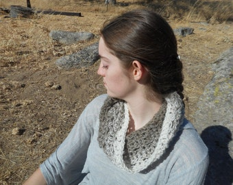 Brown and White Ombre Cowl - Brown and White Cowl - Neutral Cowl - Crocheted Scarf
