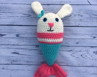 Mer Ava Bunny, Crochet Bunny, Crochet Mermaid, Mermaid Plushy, Handmade Mermaid Plush Toy, Amigurumi Mermaid, Crochet Mermaid Doll, Mermaids