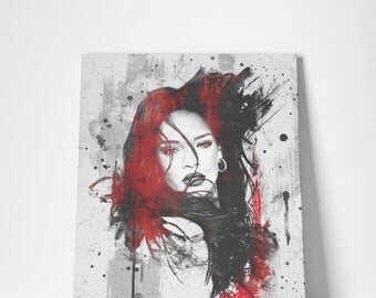 Rihanna Anti - Canvas Fine Art Giclée Print - Varnished Acrylic Red Painting Abstract Illustration Celebrity Singer R&B Music