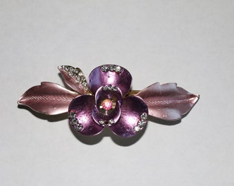 1 Girls Hair Clip Purple Flower Petals with Studded Stones