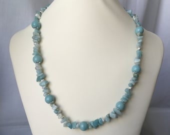 """Amazonite 18"""" Beaded Necklace with Silver Accents and a Toggle Clasp"""