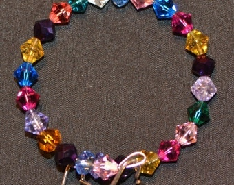 Bright Rainbow - multi-colored beaded bracelet with signature heart charms