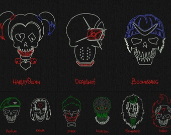Сharacters and logo Suicide Squad - All 10 Skulls - minimalist style - Machine embroidery design - 12 folders for instant download