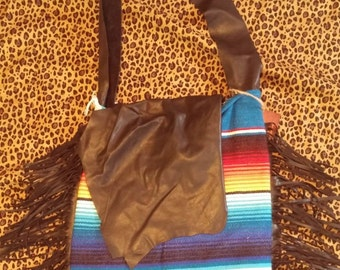 Serape Purse with Black Leather Top and FRINGE
