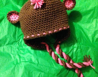 Mohawk Monkey Crochet Hat - Beanie with Earflaps, Mohawk, and Braids - Newborn / Toddler / Child / Teen / Adult - Made to Order