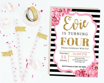 Watercolor Floral Printable Birthday Party Invitation, Pink Black Gold Birthday Party, Floral Girl Birthday Invitation, 4th Birthday Invite