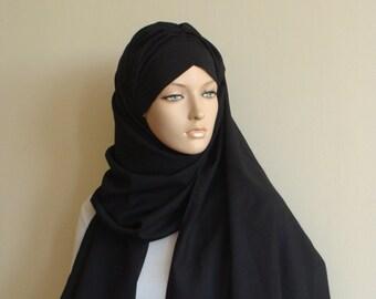 Stylish black Turban Hijab, ready to wear hijab, chapel scarf,Pret A Porter Hijab, BLACK hijab, Turban, abaya scarf, burqa, Muslim fashion