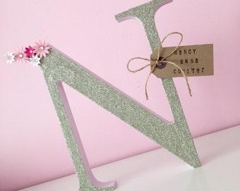 Glitter letter / freestanding wooden letter / birthday Gift / new baby / christening Present / new home
