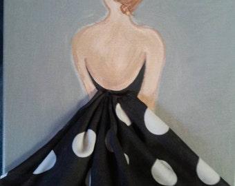 Girl. 8x10 Acrylic on canvas. 3D with fabric