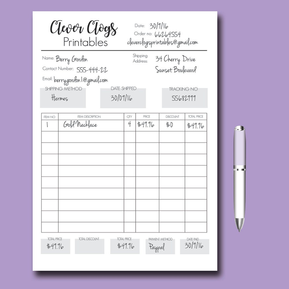 Custom order form business organizer branded staionery for Candle order form template