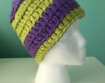Handmade // Crocheted // Green & Purple Hat