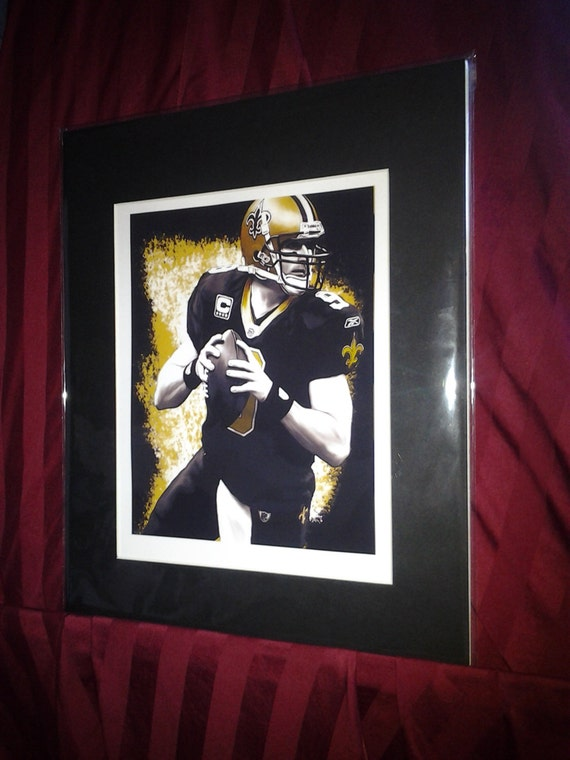 New Orleans Saints Drew Brees Matted Art Print Free