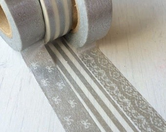 3 pattern Japan MT washi masking tape sample - sliver, lace, ribbon - 50 cm per pattern - NOT whole roll