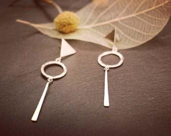 Original custom geometry sterling silver earrings handmade