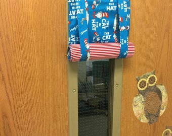 ROMAN SHADE/CURTAIN for Teacher Classroom Door - Privacy/Safety/Lockdown - Cat in the Hat