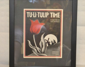Tu-Li-Tulip Time 1938 Framed Sheet Music Cover