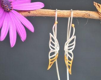 Butterfly Earrings * Mix Metals Earrings * Threader Earrings * Handmade Earrings