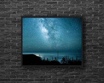 Stars Wall Decor - Starry Night - Milky Way Photo - Starry Sky Photography - Star Print - Astronomy Print - Blue Sky Print - Blue Wall Decor