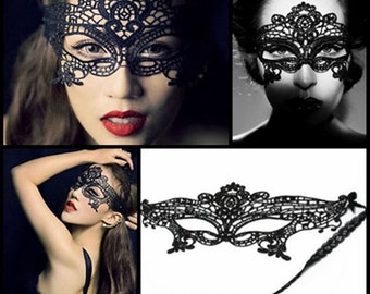Black Lace Eye Mask Venetian Masquerade Eye Halloween Party Lace Fancy Dress UK