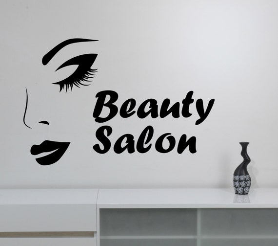 Beauty salon logo wall sticker vinyl decal make up styling for Stickers salon design