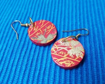 Chiyogami gold leaf - Japanese,small, round, light, wooden earrings
