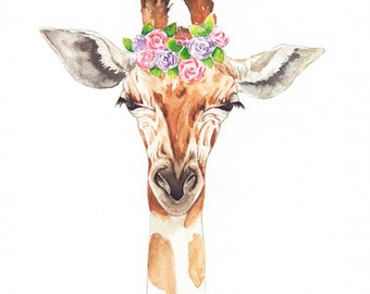 Floral Giraffe Watercolor, Safari Watercolor Print, Safari Animal Print, Giraffe Wall Decor, Nursery Art
