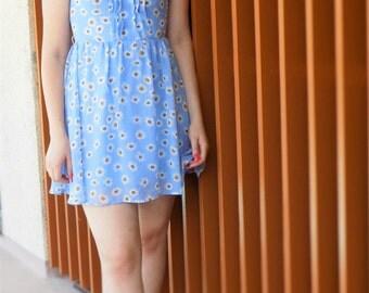 Retro Babydoll Daisy Print Dress