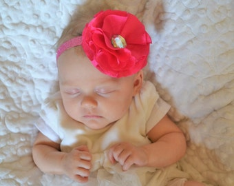 Big Pink Flower Headband, Baby Headband, Girl Headband