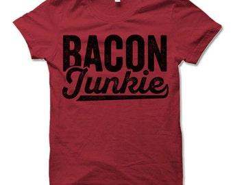 Bacon Junkie T-Shirt. Funny Bacon T-shirt. Bacon Lover Shirts.