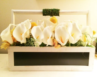 White wood box of Calla Lillies with Chalkboard