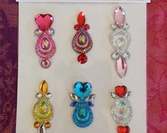 Bindi 9pcs - Face painting bling stick on jewel cluster Bindi body bling festival party costume