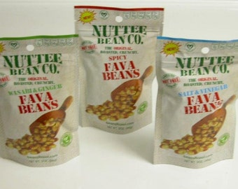 The Original Nuttee Bean Co. Roasted, Crunchy Fava Beans, 3 Fava-licious flavors Healthy Snack Food: No Nut, Gluten free, Non-GMO… Wholesome
