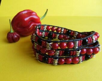 Triple-wrap coral boho Bracelet