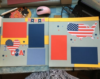July 4th 12 X 12 premade layout, Premade 2 page scrapbooking page, Patriotic premade layout
