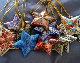 Hand Painted Papermache Stars (set of 3)