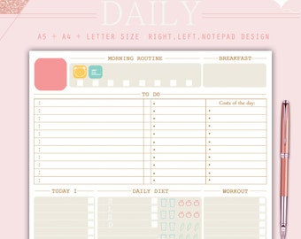 DAILY PLANNER, daily planner inserts 2017, to do list, A5 planner inserts, A4 planner inserts, Letter size planner, student planner, pdf